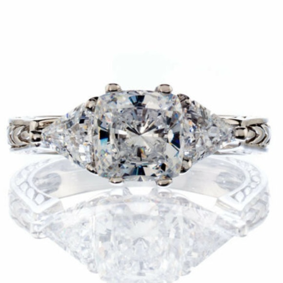 Vintage Cushion Trillion Cut Cz Engagement Ring Nwt